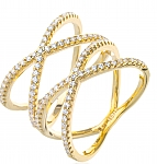 טבעת איקסים גולדפילד 18 קראט משובצת אבני סוורובסקי