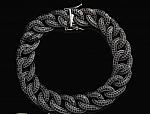 צמיד דגם אייל גולן כסף משובץ אבני סוורובסקי שחורות