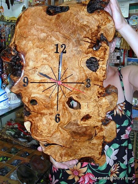 שעון מעץ זית מלא - 1