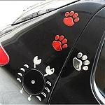 מדבקות לקיר / לרכב 3D בצורת כפות רגלי כלב