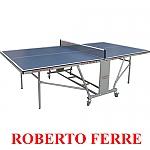 """שולחן טניס פנים Roberto Ferre עם מסגרת מתכת ופלטה 18 מ""""מ דגם 3 Silver Frame"""