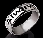 טבעת כסף עם כיתוב בהתאמה אישית