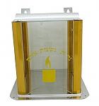 """מתקן לנר זיכרון זכוכית ואלומיניום גודל 22x22 ס""""מ"""