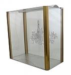 חנוכית פרופיל אלומניום זהב וזכוכית 20*36*18
