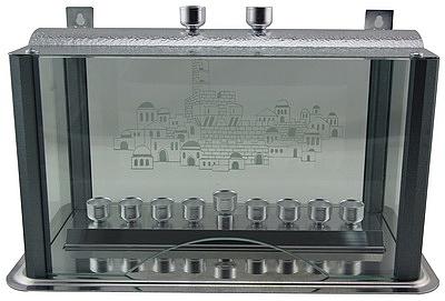 """קישוטית אלומיניום אפור מנוקד עם קנים לחנוכיה ולנרות שבת 36x22 ס""""מ - 1"""