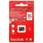 כרטיס זיכרון SanDisk Micro SDHC 16GB SDSDQ-016G