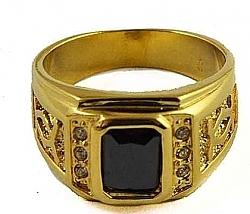 טבעת יוקרתית  ל גבר משובצת אבן ץירקוניי שחור GF