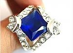 טבעת יוקרתית לכלה18 קראת משובצת אבן םפיר כחול