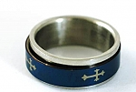 Superb Blue Cross Style Stainless 316L steel Ring Fashion Jewelry
