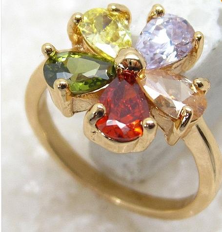 טבעת יוקרתית לאישה 18 קראת משובצת אבן  טופז - 1