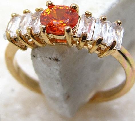 טבעת יוקרתית לאישה 18 קראת משובצת אבן  טופז אדום&לבן - 1