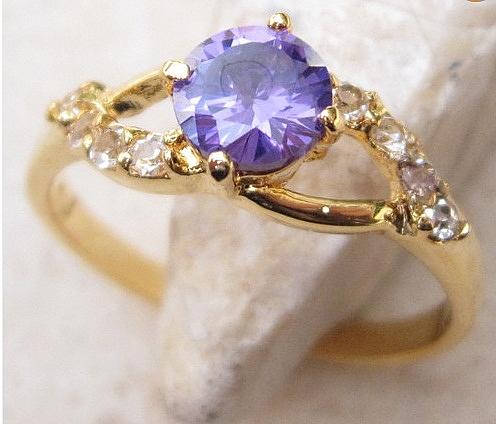 טבעת יוקרתית לאישה 18 קראת משובצת אבן  אמטיסט - 1