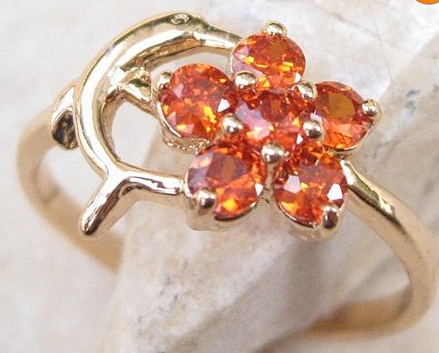 טבעת יוקרתית לאישה 18 קראת משובצת אבן  גארנט אדום אנגיליק - 1