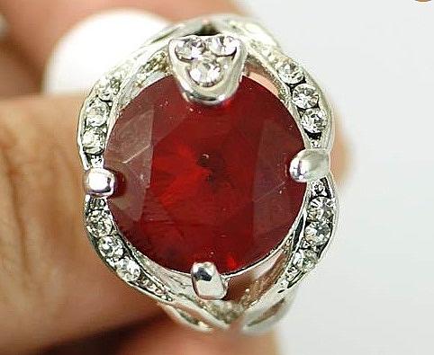 טבעת יוקרתית לכלה18 קראת משובצת אבן םפיר אדום - 1