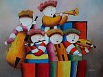 ציור שמן ילדים תזמורת עם צ'לו