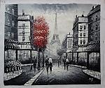 פאריז שחור לבן עם עץ אדום