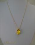 שרשרת ציפוי זהב עם תליון סברובסקי צהוב