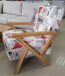כורסא ידיות מעץ דגם סרינה