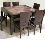 שולחן פינת אוכל + 6 כיסאות מעץ מייפל מלא בשילוב אגוז אפריקאי