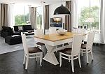 שולחן פינת אוכל + 6 כיסאות דגם ארמני מעץ אלון מבוקע בשילוב אפוקסי