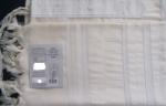 טלית אקרילן פסים לבן מידה לבר מצווה מידה 45