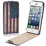 """כיסוי דמוי עור אמיתי לאייפון 5 - דגל רטרו ארה""""ב"""