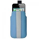 נרתיק דמוי עור אמיתי לאייפון 4/4S - 3/3S - כחול