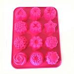 תבנית סיליקון איכותית לאפייה של 12 עוגיות בצורת פרח