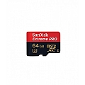 כרטיס זכרון  SANDISK EXTREME PRO 64GB Class 10 MICRO SD  Memory Card Adapter  SDXC