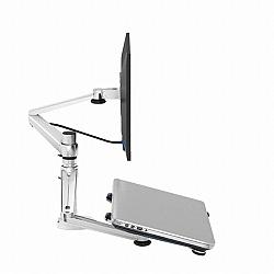מתקן תלייה זרוע למחשב נייד ומסך נצמד לשולחן או לקיר כולל צידוד והטיה