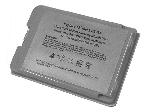"""סוללה חלופית ל מחשב נייד 6 תאים Apple iBook G3 G4 12"""" A1061 A1008 M8403 M8433G/A M8626GA M8956G/A M9337G/A 6cell 4400mah - 1"""