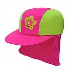 כובע בנות מבד מסנן קרינה ירוק/ורוד