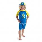 בגד ים בנים מבד מסנן קרינה כחול/צהוב
