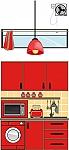 עיצוב סביבה חינוכית בגן ילדים, פינת מטבח צבע אדום