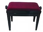 כיסא מתכוונן לפסנתר אדום קטיפה