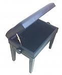 כיסא מתכוונן לפסנתר עם איחסון תווים דמוי עור שחור