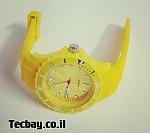 שעון סיליקון/גומי אופנתי - צהוב