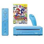 Nitendo Wii BLUE + משחק + חיישן MOTION מובנה בשלט + פריצת USB