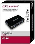 מפצל Transcend USB 3.0 4-Port Hub With External Power Adapter Black