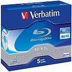 דיסקים בלו-ריי לצריבה Verbatim BD-R DL x6 50GB Blu-ray Media 5-Pack (43748)