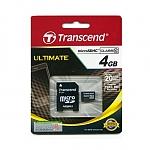 כרטיס זכרון Transcend Premium Micro SDHC TS4GUSDHC10 - נפח 4GB