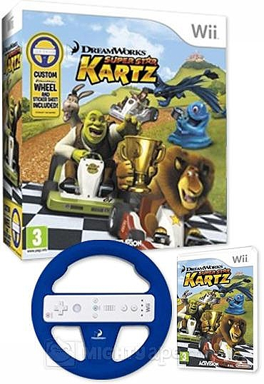 WII DreamWorks Super Star Kartz Bundle + Wheel - 1