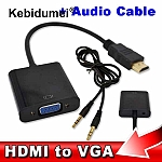מתאם HDMI ל VGA כולל קול(audio)