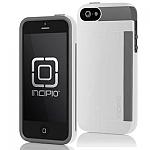 כיסוי Incipio Stowaway אייפון 5/5S לבן-שחור