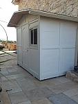 """מחסן עץ אורן דופן 20מ""""מ במידות 2.2 על 2.7מ'. מחסן, משרד או בקתה מעץ"""