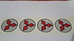 מדבקות סמל מיצובישי 4 יחידות אדום